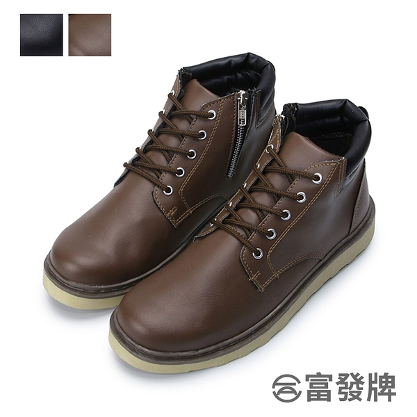 【富發牌】俐落有型男款綁帶靴-黑/咖 2EK80