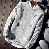 毛衣男秋冬季寬鬆圓領厚款外套打底針織衫【左岸男裝】