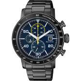 【CITIZEN】星辰 光動能賽車計時碼錶-藍x黑/43mm CA0645-82L