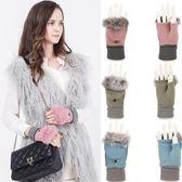 羊毛半指手套女冬季保暖加絨加厚可愛學生露指翻蓋寫打字針織手套