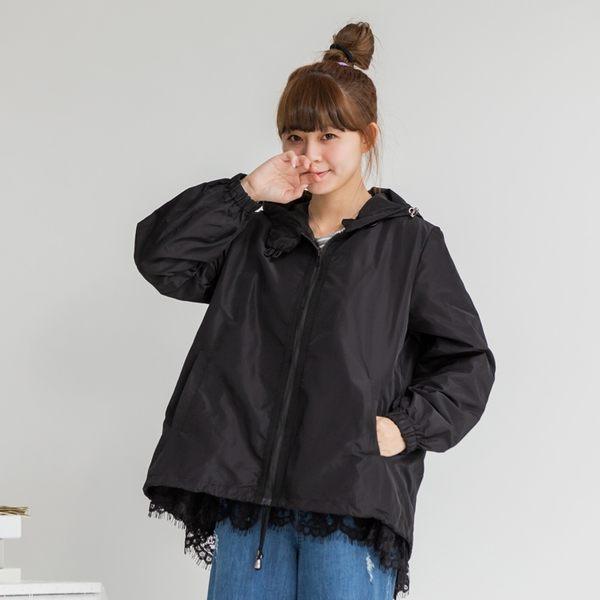 【MOLING】連帽下蕾絲風衣外套