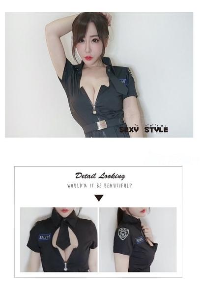 女警服 角色扮演服短袖洋裝女警制服 萌系女軍裝cosplay服裝表演服~流行E線A7151