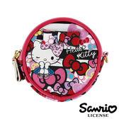 5332【日本進口正版】Hello Kitty 凱蒂貓 三麗鷗 人物系列 圓型 皮質 零錢包 SANRIO - 123664