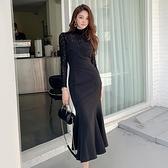 歐媛韓版 吊帶長裙秋冬內搭洋裝 名媛性感高領蕾絲衫上衣 修身包臀魚尾連身裙套裝