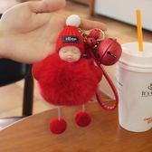 韓國創意鈴鐺汽車鑰匙扣女可愛獺兔毛絨睡眠娃娃鑰匙鍊情侶包掛件 玩趣3C
