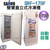 【信源電器】170公升【SAMPO聲寶 自動除霜~直立式冷凍櫃】 SRF-170F