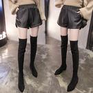 皮短褲女新款秋冬大碼胖MM韓版高腰闊腿a字寬鬆顯瘦PU皮褲