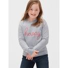 Gap女童甜美風格字母刺繡圓領針織衫521652-青泥色
