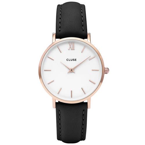 CLUSE荷蘭精品手錶 MINUIT玫瑰金色系列 白錶盤/黑色皮革錶帶 33mm
