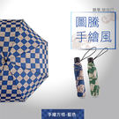 【德國boy】抗UV防風無按鈕三折晴雨傘(方格藍/方格綠)