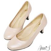 Ann'S空姐美腿款全真羊皮中跟包鞋-金