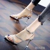 細跟涼鞋歐美小辣椒露趾拼色水鑽宴會一字扣涼鞋女夏季新款細跟高跟鞋紓困振興