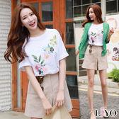 上衣圓領女短袖印花寬鬆T恤LIYO理優E732027