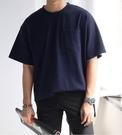 FINDSENSE 時尚潮流 男 日系 休閒 寬鬆 舒適 素面 開叉 短袖T恤