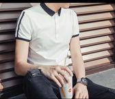 全館85折男士翻領短袖T恤純色半袖韓版POLO衫男條紋潮流男裝夏裝衣服