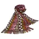 KENZO時尚民族風純棉圍巾(卡其紅)084035-1
