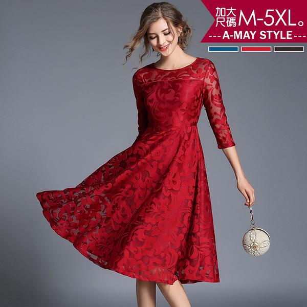 加大碼-法式典雅緞面洋裝(M-5XL)