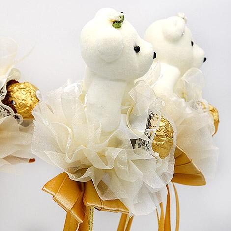 幸福婚禮小物-「浪漫泰迪熊金莎巧克力花棒」迎賓禮/二次進場/活動小禮物/送客禮/金莎/喜糖
