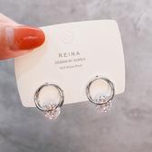 【限時下殺89折】簡約925銀針圓環耳釘女氣質韓國個性網紅高級感人工锆石耳環