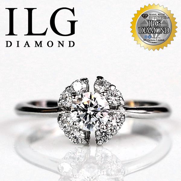 【ILG鑽】頂級八心八箭鑽石戒指-綻放愛戀款 主鑽50分 甜美度破表超閃耀小花造型鑽戒 RI004