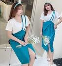大尺碼洋裝 XL-4XL 顯瘦長版吊帶裙+短袖棉T二件套裝 2色 #rc8016 @卡樂@