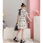 洋裝 孕婦裝夏裝新款時尚款荷葉袖印花短袖大碼上衣潮媽寬鬆連身裙【快速出貨】