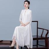 汉元素中国风两件套装唐装日常复古大码改良旗袍茶服民族风女装夏 茱莉亞