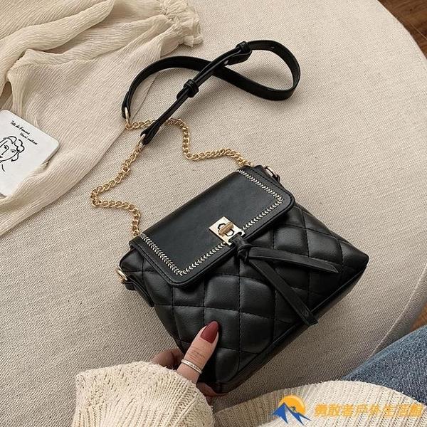 復古小包包女春季新款復古時尚菱格鏈條包大氣質感單肩包【勇敢者戶外】