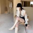 真皮粗跟方頭騎士長靴及膝靴高筒靴女【少女颜究院】