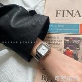 竹節錬條鋼帶手錶女士時尚簡約氣質復古方形女表學生ins風 雙12全館免運