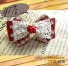 【YT店髮飾】紅色典雅蕾絲緞帶蝴蝶結髮夾/髮飾/頭飾/彈簧夾(G021)