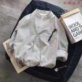 港風條紋七分袖襯衫小清新
