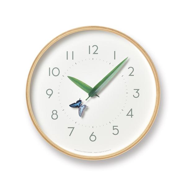 日本 Lemnos Perch Monki Wall Clock 25.4cm 巧合系列 北海道原木 時鐘 - 紋黃蝴蝶