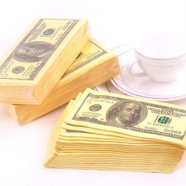 [拉拉百貨]紙鈔造型紙巾 創意美元造型原漿餐巾紙 紙巾 10張/包