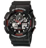 CASIO G-SHOCK 變形金鋼機械感重型運動錶-隱藏版 GA-100-1A4DR -黑紅