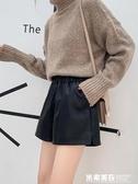 皮短褲女新款秋冬季外穿時尚闊腿寬鬆pu皮褲百搭高腰大碼顯瘦 米希美衣