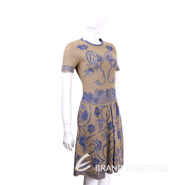 ALBERTA FERRETTI 駝色圖騰設計短袖針織洋裝 1620594-02