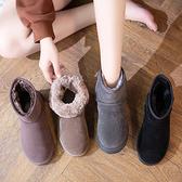2019冬季新款冬鞋保暖加絨百搭磨砂雪地靴女短筒短靴平底學生棉鞋