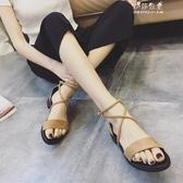 交叉綁帶復古羅馬鞋平底涼鞋韓版低跟涼鞋女夏1-27 伊莎公主
