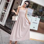新款韓版復古一字領背帶連身裙女夏露肩收腰顯瘦a字吊帶長裙