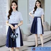襯衫洋裝 2021夏季新款時尚職業OL短袖連身裙女洋氣ins輕熟風裙子 3C數位百貨