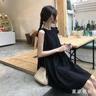 大碼無袖洋裝 法式山本仙女超仙森系心機小黑裙黑色吊帶海邊度假夏  LN4389【東京衣社】
