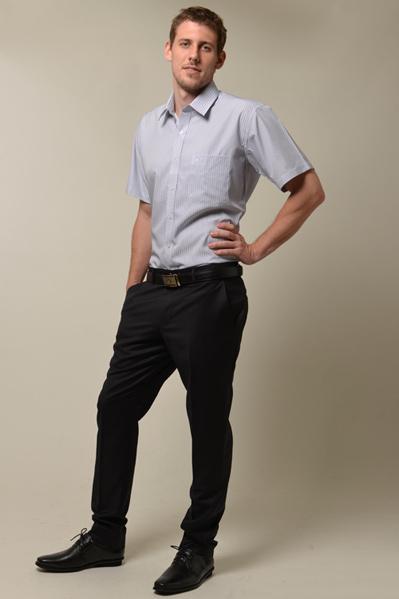 【金‧安德森】藍色條紋門襟斜紋短袖襯衫