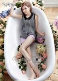 Victoria 天絲棉鬚邊色染短褲-女-淺紫色/白色