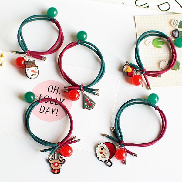 Xmas聖誕造型雙色髮圈 兒童髮飾 髮圈