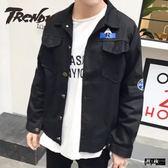 『潮段班』【ML050510】秋冬新款口袋字母鈕扣標籤長袖襯衫外套夾克上衣