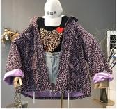 秋裝2018新款歐美女裝單排扣長袖寬鬆休閒外搭豹紋風衣牛仔外套潮