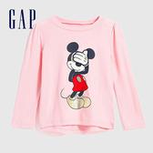 Gap女幼童 Gap x Disney 迪士尼系列創意圖案印花長袖T恤 618837-淡粉色