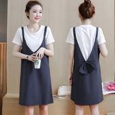 漂亮小媽咪 韓國兩件式洋裝 【D1090】 蝴蝶結 兩件式 條紋 V領 背心裙 吊帶裙 孕婦裝 短袖洋裝