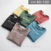 韓版男女童短袖T恤。ROUROU童裝。夏男女童100%棉字母五分袖短袖T恤 0321-424